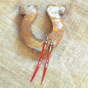 Earrings feather Swarovski Crystal pair